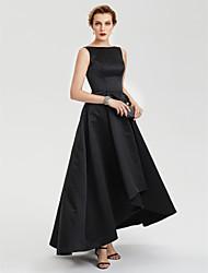 TS Couture AvondFeest Formeel Jurk - Zwart jurkje A-lijn Boothals Asymmetrisch Satijn met Plooien
