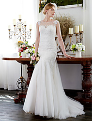 2017 Trumpet / Mermaid Wedding Dress - Classic & Timeless Sparkle & Shine Lacy Look Court Train Jewel Tulle with Appliques Beading