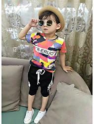 Boys' Color Block Sets,Cotton Summer Short Sleeve Clothing Set