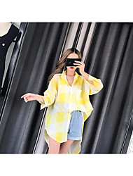 Women's Going out Simple Spring Trench Coat,Print Shawl Lapel Long Sleeve Regular Others