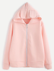 Women's Casual/Daily Simple Spring Winter Coat,Solid Hooded Long Sleeve Regular Cotton