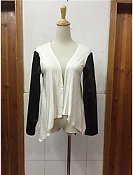 Women's Casual/Daily Simple Spring Fall Coat,Solid Round Neck Long Sleeve Regular Others
