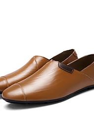 Herre 一脚蹬鞋、懒人鞋 Komfort Lær Vår Høst Fritid Flat hæl Svart Brun Blå 2,5 - 4,5 cm