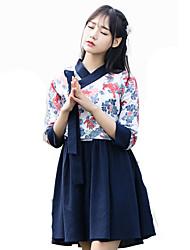 Outfits Wa Lolita Vintage Inspired Cosplay Lolita Dress Vintage Half-Sleeve Short / Mini For