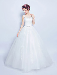 Ball Gown Wedding Dress - Classic & Timeless Floor-length Scoop Tulle with Lace