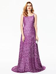 TS Couture Evento Formal Vestido - Cintilante e Brilhante Estilo Celebridade Tubinho Com Alças Finas Cauda Escova Lantejoula com