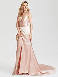 TS Couture Evento Formal Vestido - Sensual Fendas Estilo Celebridade Tubinho Cauda Corte Cetim com Fenda Frontal Franzido