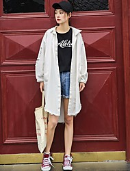 Women's Casual/Daily Active Spring Trench Coat,Letter Shirt Collar Long Sleeve Long Others