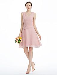 LAN TING BRIDE באורך  הברך שמלה לשושבינה  - גב פתוח סקסית ללא שרוולים שיפון