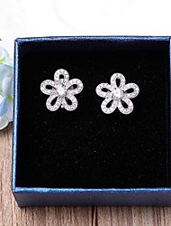 Clip Earrings AAA Cubic Zirconia Flower Style Jewelry ForWedding Party Special Occasion Anniversary Graduation Gift