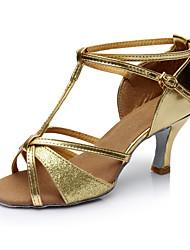 מותאם אישית נשים לטיני עור סנדלים פנימי עקב מותאם זהב