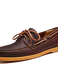 Men's Boat Shoes Comfort Real Leather Cowhide Spring Casual Comfort Dark Brown Light Brown Blue Flat