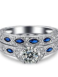 Dámské Prsten Kubický zirkon Retro Elegantní Dvojitá vrstva Platinová Zirkon Round Shape Šperky ProSvatební Párty a večerní akce Zásnuby