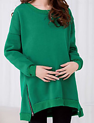 Women's Casual Sweatshirt Solid Round Neck Inelastic Polyester Long Sleeve Winter