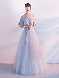 Graduation Formal Evening Dress - Lace-up A-line Jewel Floor Length Tulle with Beading