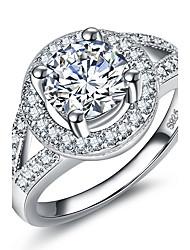 Dámské Prsten Kubický zirkon kruh Klasický Elegantní Zirkon Round Shape Šperky Pro Svatební Párty a večerní akce Zásnuby Denní Obřad