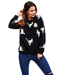 Women's Daily Casual Street Sweatshirt Animal Print Turtleneck strenchy Polyester Long Sleeve Spring Fall Winter