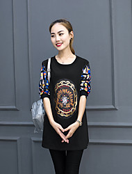 Women's Daily Sweatshirt Print Round Neck Micro-elastic Cotton Long Sleeve Fall