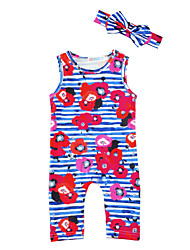 Baby Stripe Floral Print One-Pieces Cotton Blends Spring/Fall Summer Sleeveless Baby Girls Romer with   Headband Kids Girls Bodysuits Jumpsuits