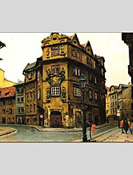 Oil Paintings Architecture Style Canvas Material With Wooden Stretcher Ready To Hang Size 60*90 CM .