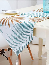Leaves Printed Cotton And Linen Table Flag Wallpaper