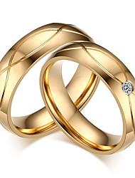 Pro páry Snubní prsteny imitace drahokamu minimalistický styl Klasický Elegantní Zirkon Titanová ocel Round Shape Šperky ProSvatební