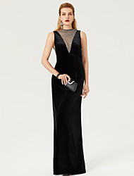 TS Couture Formal Evening Dress - Celebrity Style Open Back See Through Sheath / Column High Neck Floor Length Velvet with Lace