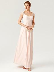 TS Couture Evento Formal Vestido - Espalda Abierta Elegant Funda / Columna Hasta el Suelo Raso Encaje con Encaje En Cruz Fruncido Plisado