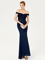 2017 TS Couture Formal Evening Dress - Open Back Elegant Trumpet / Mermaid Off-the-shoulder Sweep / Brush Train Chiffon Lace withSash / Ribbon