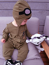 Baby Fashion And Comfortable Pure Cotton Flight Long-Sleeved Conjoined Trousers Take Garment  Crawl Pattern is random