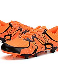 בנים נעלי אתלטיקה נוחות סוליות מוארות PU אביב סתיו אתלטי כדורגל נוחות סוליות מוארות שרוכים עקב שטוח שחור כתום ירוק כחול שטוח