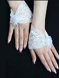 K zápěstí Bez prstů Rukavice Krajka Pro nevěstu Celý rok Perly