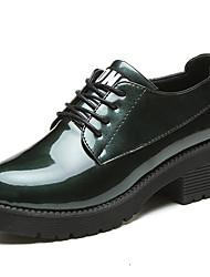 נשים נעלי אוקספורד נוחות גומי קיץ הליכה נוחות שרוכים עקב נמוך שחור אפור בהיר ירוק צבא בורדו מתחת ל 2.54 ס