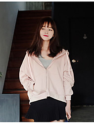 Women's Daily Hoodie Solid Hooded Micro-elastic Polyester Long Sleeve Fall