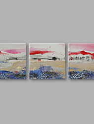 IARTS® Hand Painted Abstract Oil Painting Japanese Style Fuji Mountain Set of 3 with Stretched Frame Handmade For Home Decoration Ready To Hang