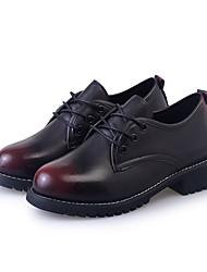 נשים שטוחות נוחות נעליים פורמלית PU סתיו קזו'אל שמלה הליכה נוחות נעליים פורמלית שרוכים עקב שטוח שחור אדום ס
