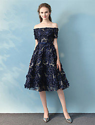 Cocktail Party Vacation Dress A-line Off-the-shoulder Tea Length Lace with Lace Sash / Ribbon