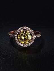 Dámské Prsten Kruhy Retro Elegantní Barva ozdobného kamene Zirkon Round Shape Šperky Pro Svatební Párty a večerní akce Zásnuby Obřad