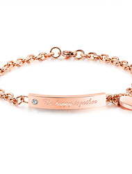 Women's Chain Bracelet Fashion Vintage Titanium Steel Rose Gold Plated  Chain Bracelet Heart Jewelry For Wedding Anniversary Party/ Evening Daily