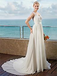 2017 LAN TING BRIDE A-line Wedding Dress - Lacy Look Open Back Chapel Train Straps Chiffon withAppliques