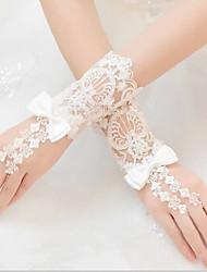 K zápěstí Bez prstů Rukavice Krajka Pro nevěstu Celý rok Korálky Mašle