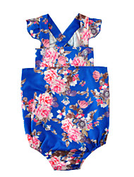 Baby Floral One-PiecesCotton Blends Summer Sleeveless Flowers Baby Girls Romper Bodysuits