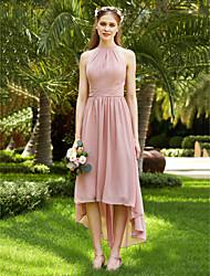 LAN TING BRIDE א-סימטרי עם תכשיטים שמלה לשושבינה  - גב פתוח אלגנטי ללא שרוולים שיפון