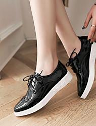 נשים נעליים ללא שרוכים נוחות PU אביב קזו'אל נוחות לבן שחור ורוד שטוח