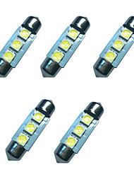 5pcs המכונית פסטיון כיפה מנורה 36mm 1w 3smd 5050 שבב 80-100lm 6500-7000k dc12v קריאה אור לוחית אורות רישיון