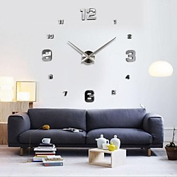 Frameless Large DIY Wall Clock, Modern 3D Wall Clock with Mirror Numbers Stickers for Office Living