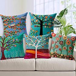 Image of set di 5 federe in finta lino federa per cuscino in stile pittura a olio pastorale cuscino per casa divano decorativo da esterno per divano divano letto sedia Lightinthebox