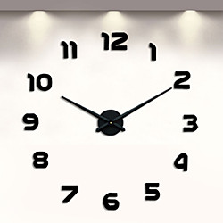 Frameless DIY Wall Clock, 3D Wall Clock Large Mute Wall Stickers for Living Room Bedroom Home Decora