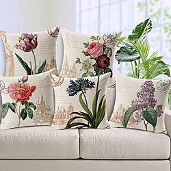 Image of set di 5 federe decorative in cotone / finto lino per divano, divano o letto design moderno di qualità foglie copricuscino floreale country per divano poltrona letto Lightinthebox