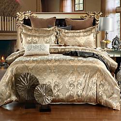 Duvet Cover Sets Luxury Silk / Cotton Jacquard 4 Piece Bedding Set With Pillowcase Bed Linen Sheet S